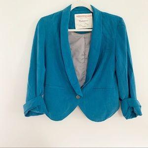Anthro Cartonnier Miyette Teal Blue Blazer Jacket